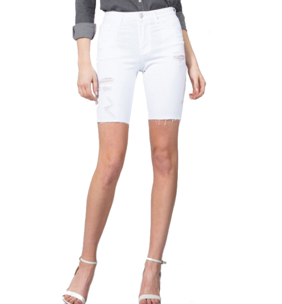 White Distressed Bermuda Shorts - Hudson Square Boutique
