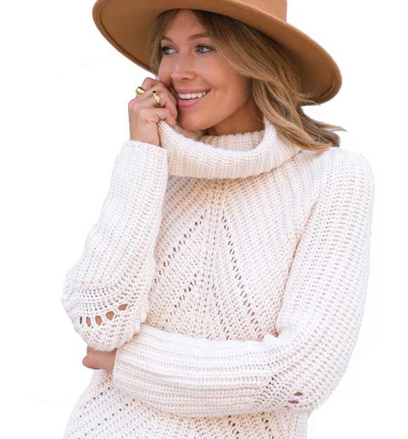 Lovestitch Ivory Turtleneck - Hudson Square Boutique