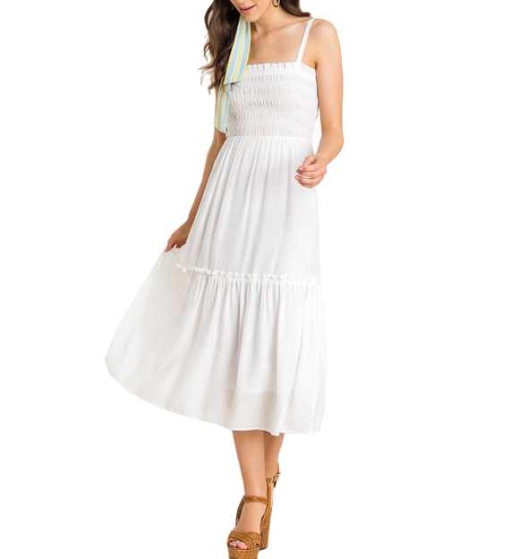 Shirred Cami Tiered Midi Dress - Hudson Square Boutique