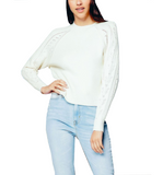 Ivory Contrast Sleeve Sweater - Hudson Square Boutique