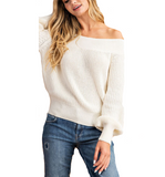 Off Shoulder Sweater in Cream - Hudson Square Boutique