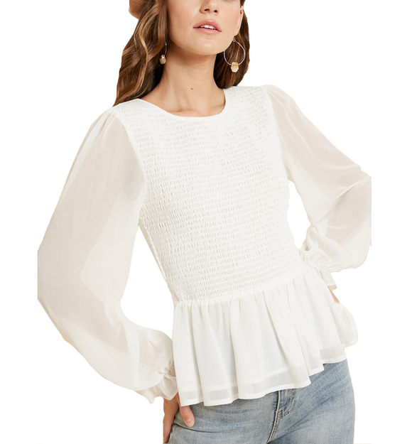 Ivory Sheer Arm Peplum Top - Hudson Square Boutique