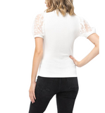 White Sheer Dotted Short Sleeve Top - Hudson Square Boutique LLC