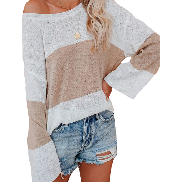 Icy White + Tan Sweater