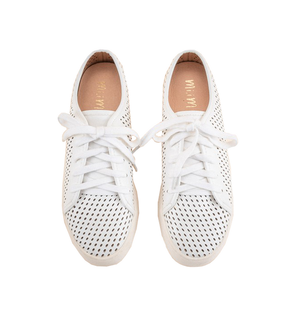 White Perforated Sneaker - Hudson Square Boutique LLC