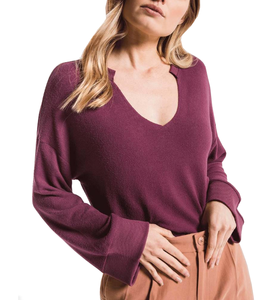The Sweater Knit Notch Pullover - Hudson Square Boutique