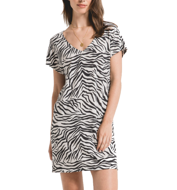 Zebra V-Neck Tee Dress - Hudson Square Boutique