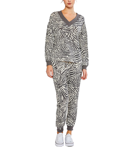 Charcoal Zebra Lounge Joggers - Hudson Square Boutique