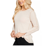 Almond Zipper Sleeve Top - Hudson Square Boutique