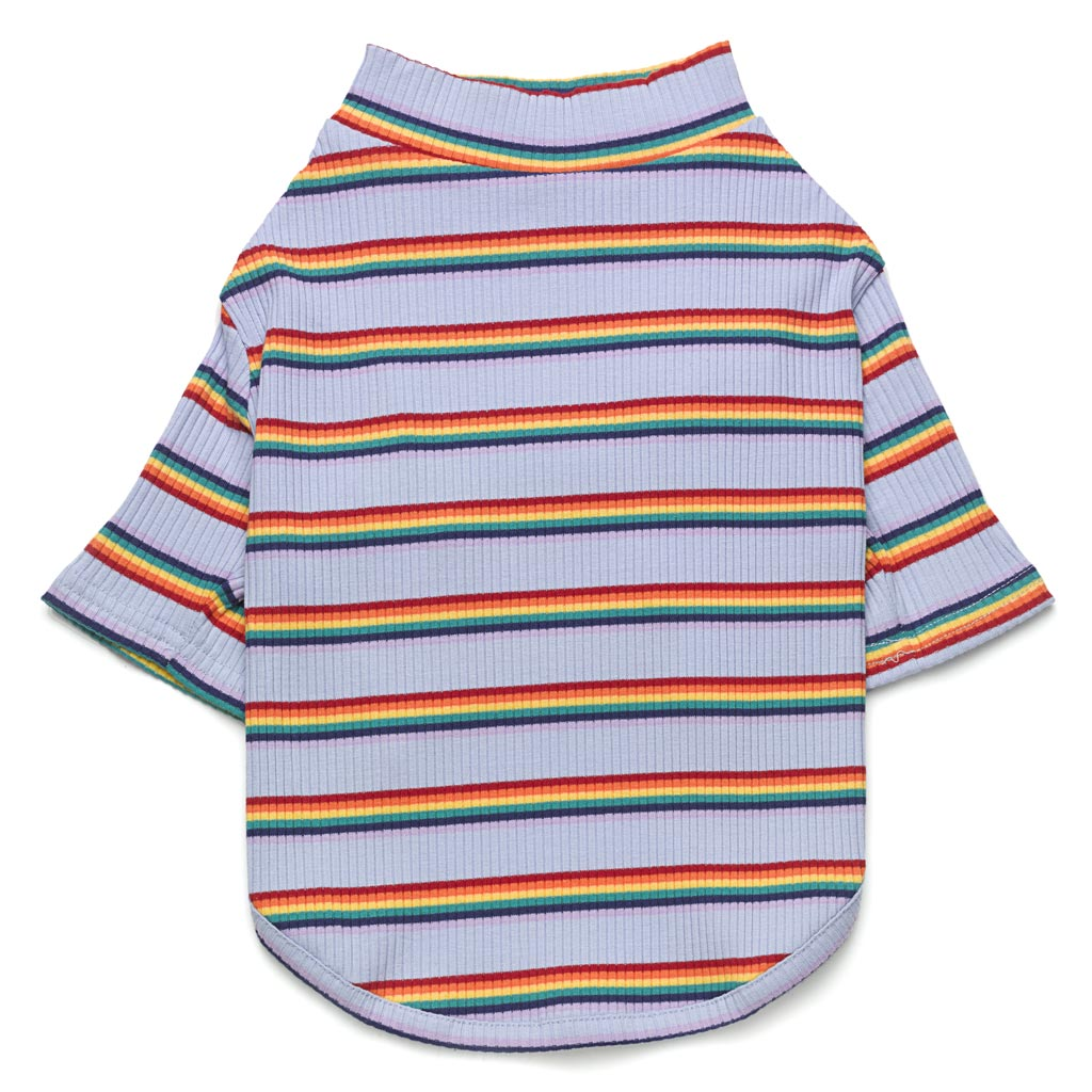 lilac purple ribbed cotton dog t shirt with rainbow stripes