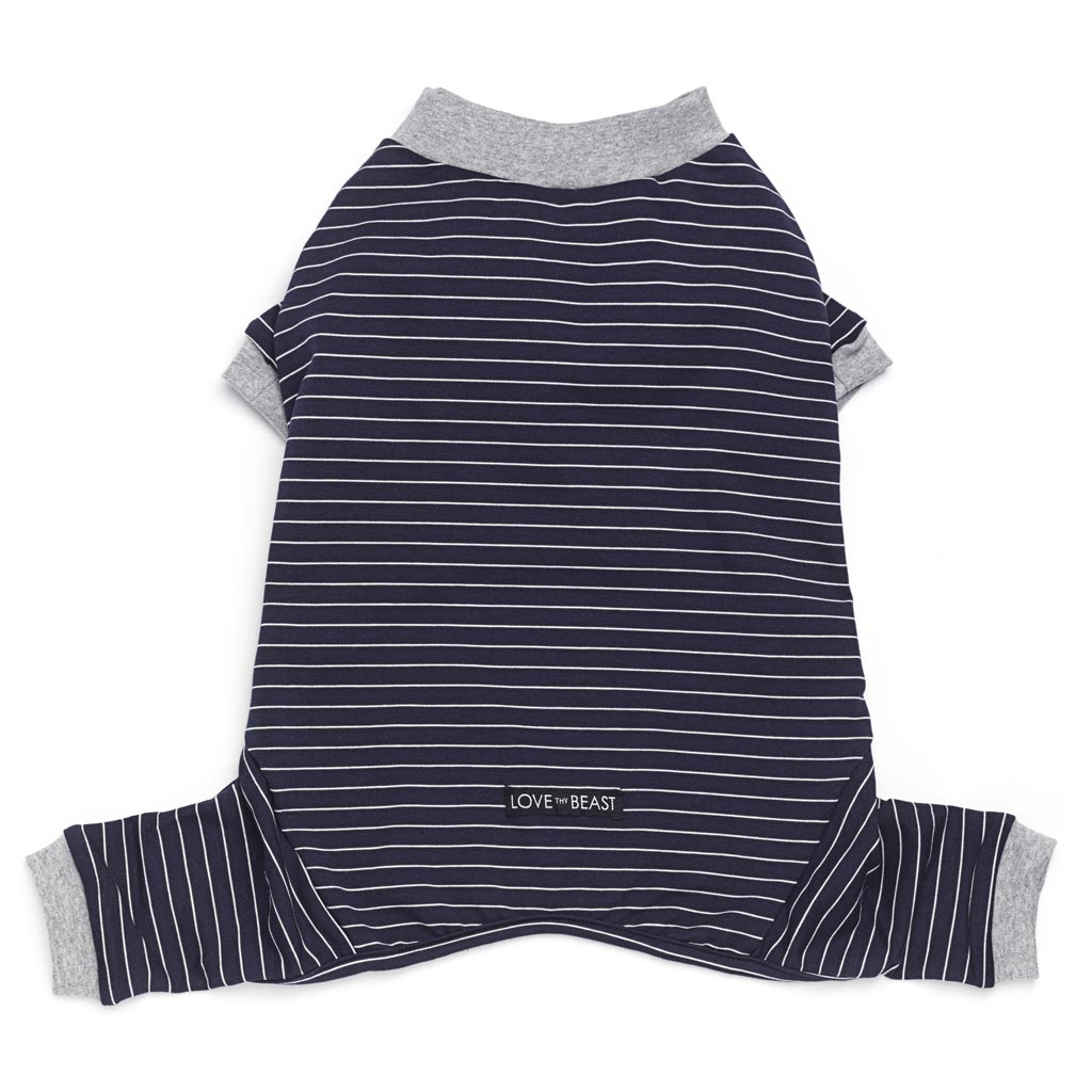 navy blue cotton dog pjs with white stripe and grey trim