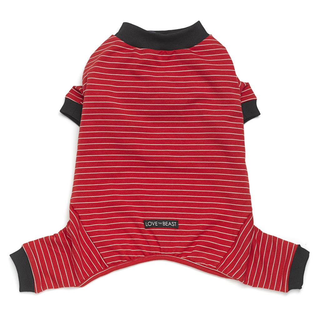 red cotton dog onesie with white stripe and black trim