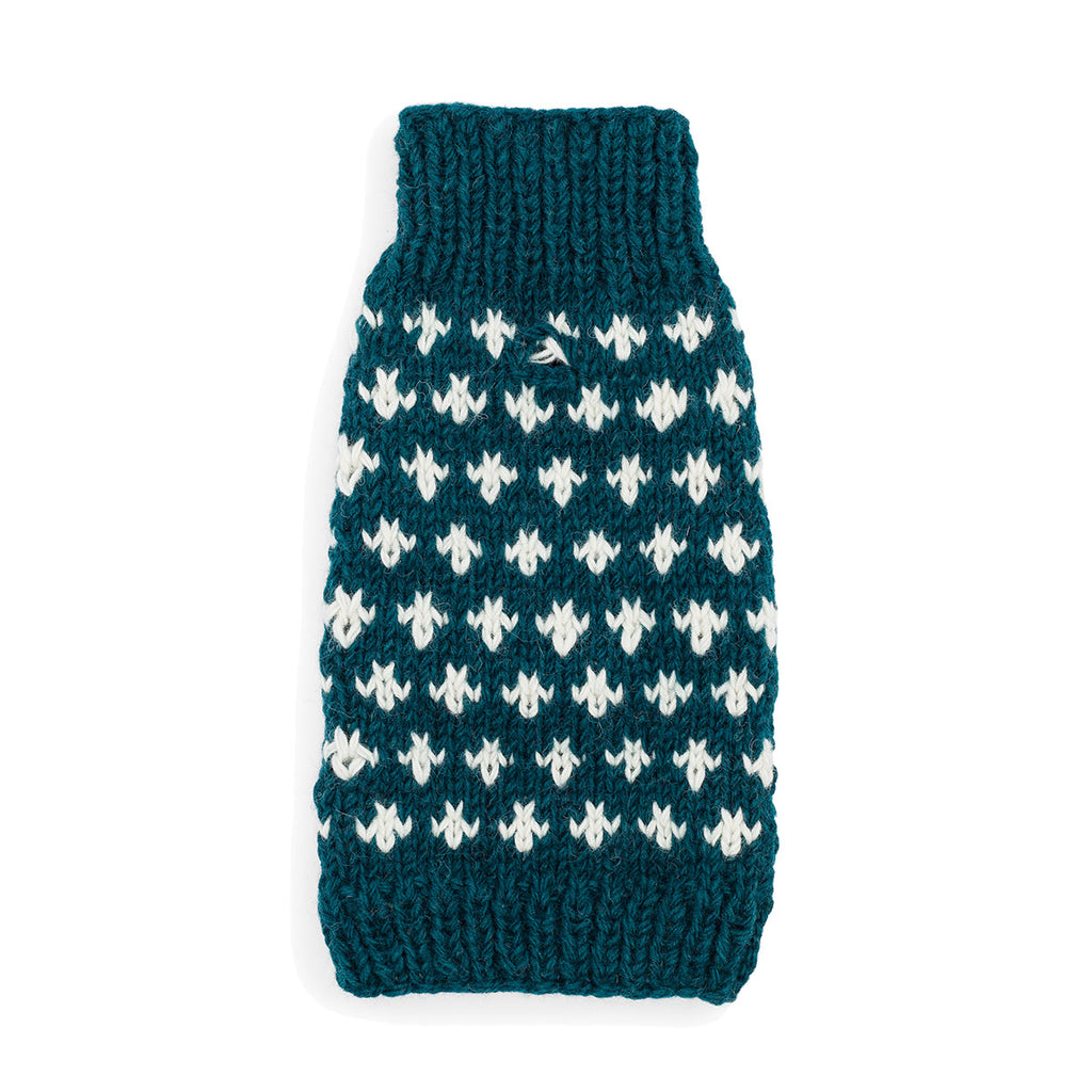 Cross Knit Sweater - Teal
