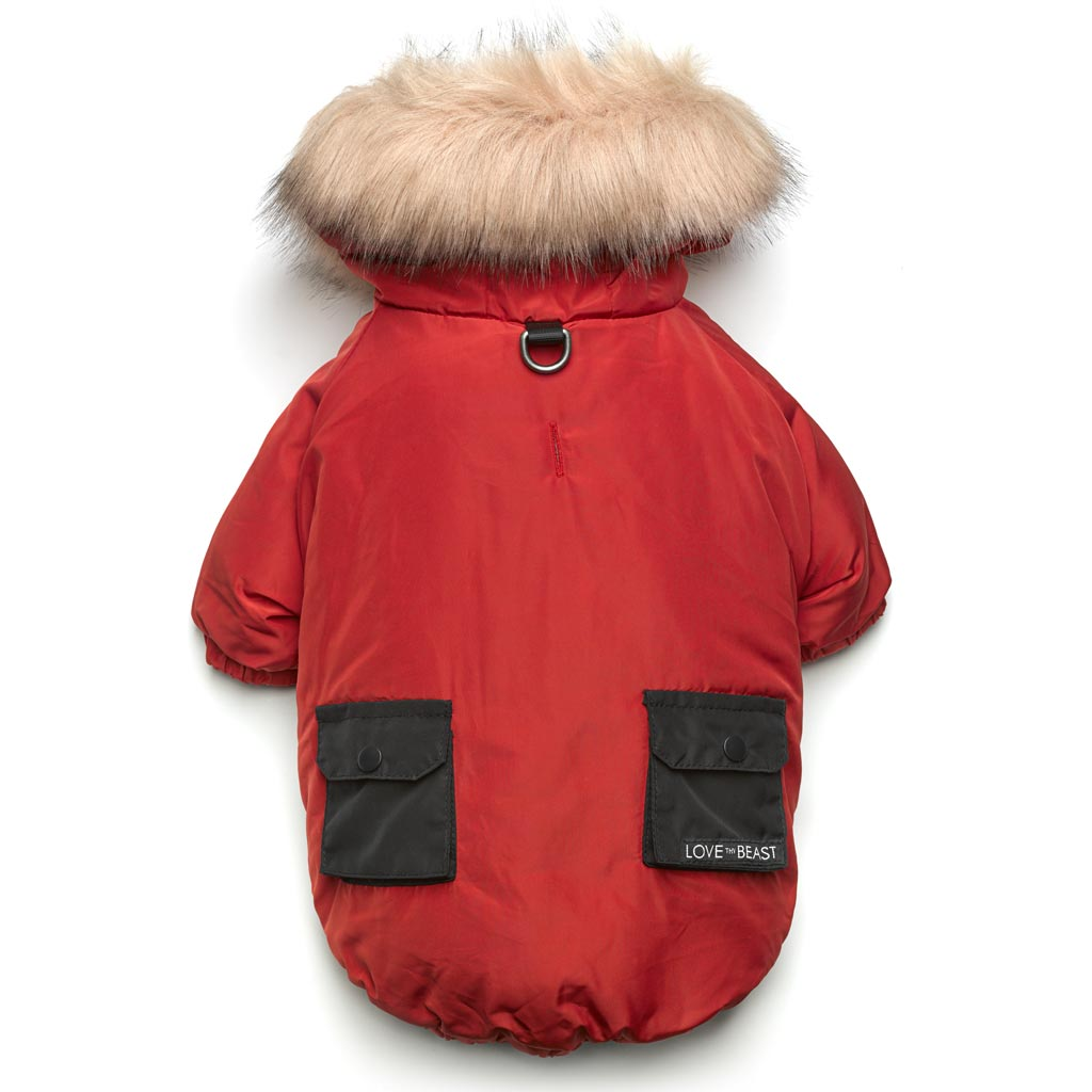 Red Colorblock Parka with Faux Fur Hood