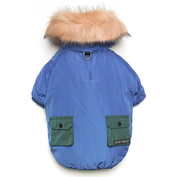 Blue Colorblock Parka with Faux Fur Hood