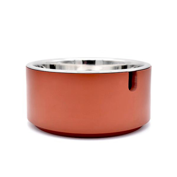 individual modern usa made designer dog food bowl with brown resin stand and stainless steel bowl