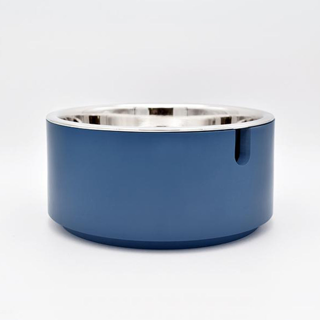 individual modern usa made designer elevated dog food bowl with blue resin stand and stainless steel bowl