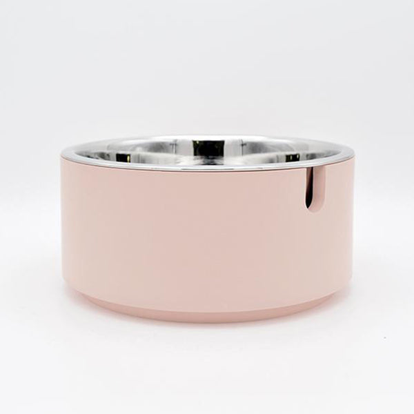 modern usa made designer dog food bowl with blush resin stand and stainless steel food bowl with easy lift up