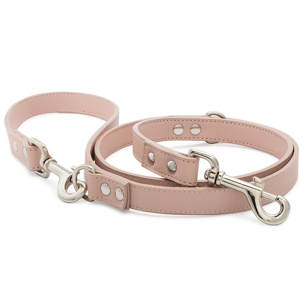 Blush Pebble Leather Adjustable Leash