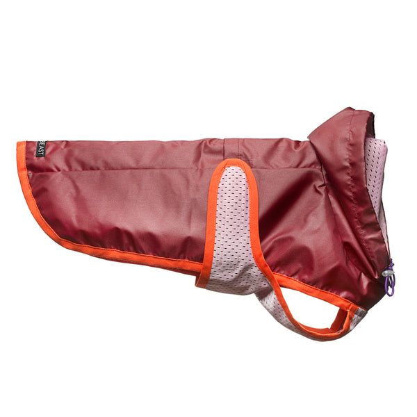 lightweight water repellent burgundy dog coat with pink lining and orange trim with hood and harness hole