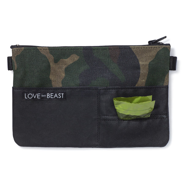 Waxed Canvas Pouch Camouflage  - Cross body + Pet Tote Attachment