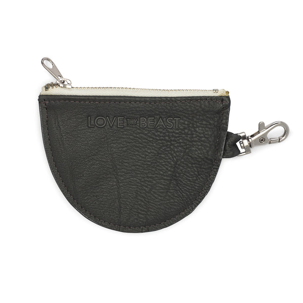 Charcoal Pebble Leather Pouch