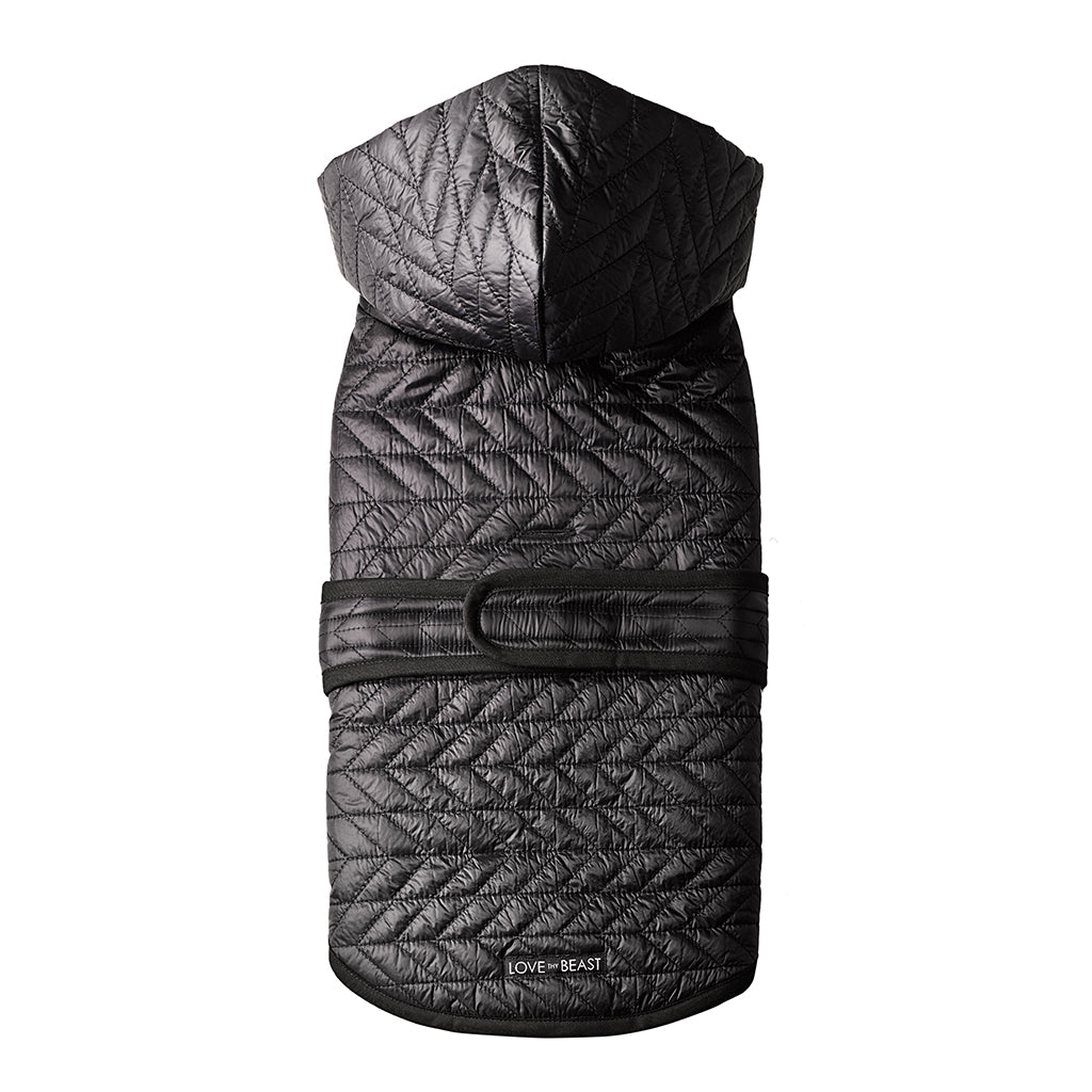 Black Quilted Nylon Puffer Jacket with Shearling Lining