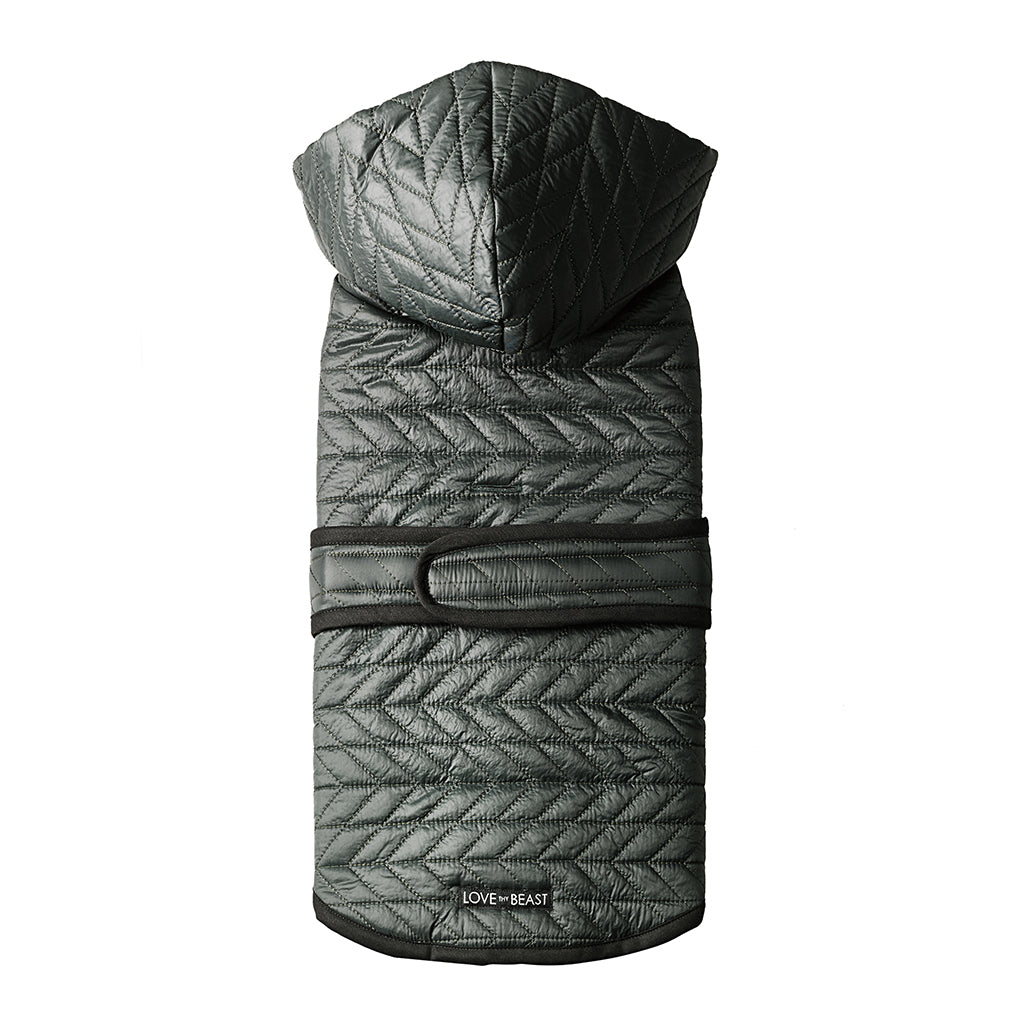 Forest Green Quilted Nylon Puffer Jacket with Shearling Lining