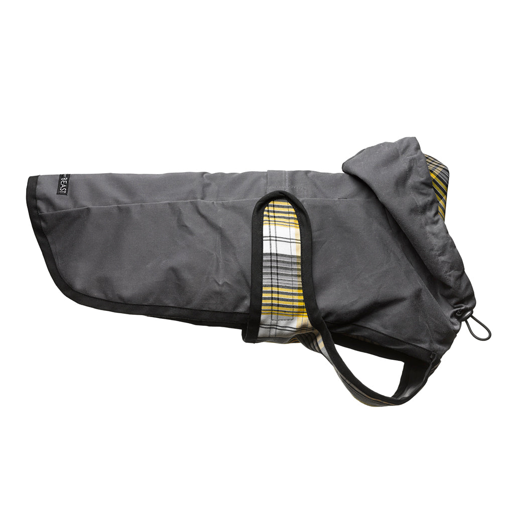 usa made charcoal grey waxed cotton warm dog rain coat with plaid lining a harness hole and customized fit
