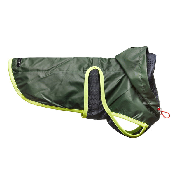 lightweight nylon slicker dog jacket in forest green with navy blue lining and neon trim with harness hole