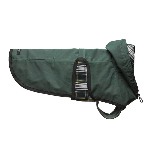 water resistant green waxed cotton dog coat with plaid lining a harness hole and drawstring hood for chesty dogs