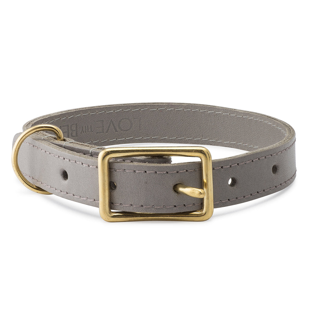 Leather Collar in Grey