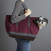 Canvas Pet Tote Burgundy & DK Grey