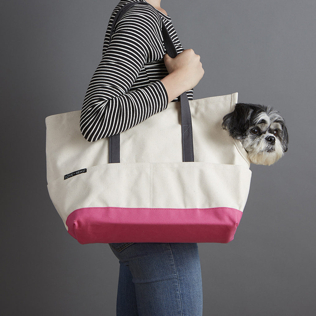 natural and pink canvas travel carrier for corgi