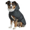 water resistant forest green quilted nylon puffer dog jacket with lining a hood and harness hole