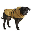 water resistant mustard yellow quilted nylon dog puffer winter coat with lining velcro adjustable belt and harness hole