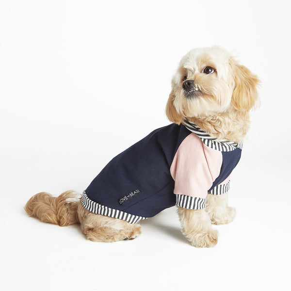 soft navy blue bamboo knit cotton fleece allergy dog hoodie with pink sleeves and harness hole