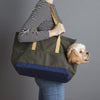 Olive and navy canvas pet carrier for puppy