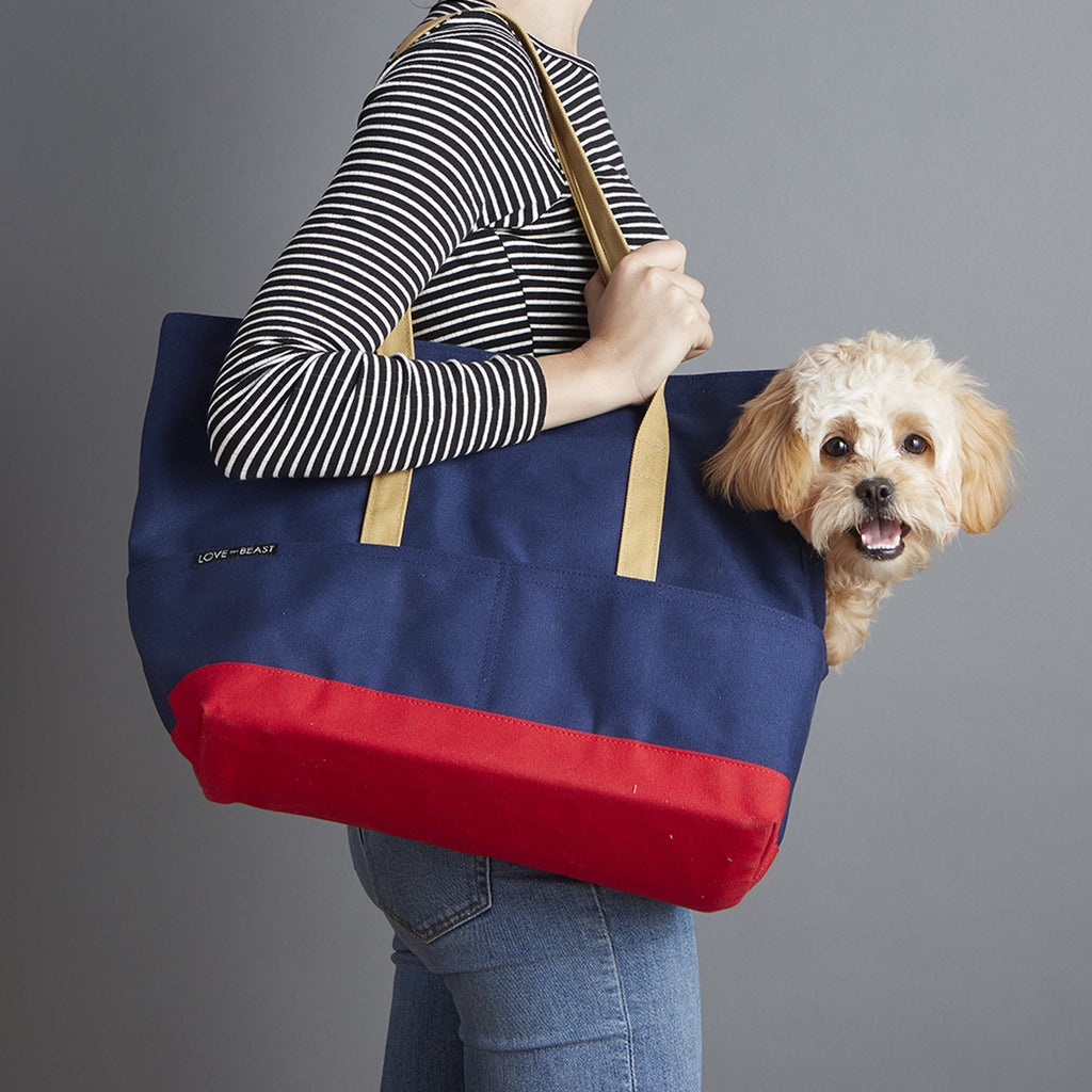 Navy and Red Canvas pet tote carrier for emotional support animal