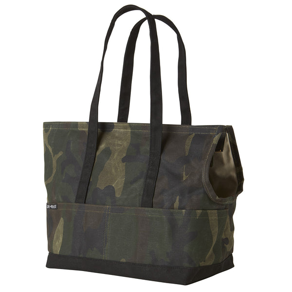 waxed camouflage canvas pet tote for city dog