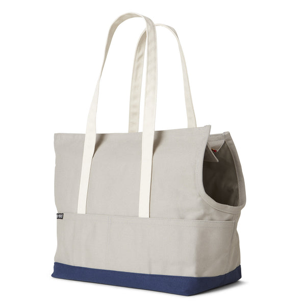 grey and navy canvas dog bag carrier for subway