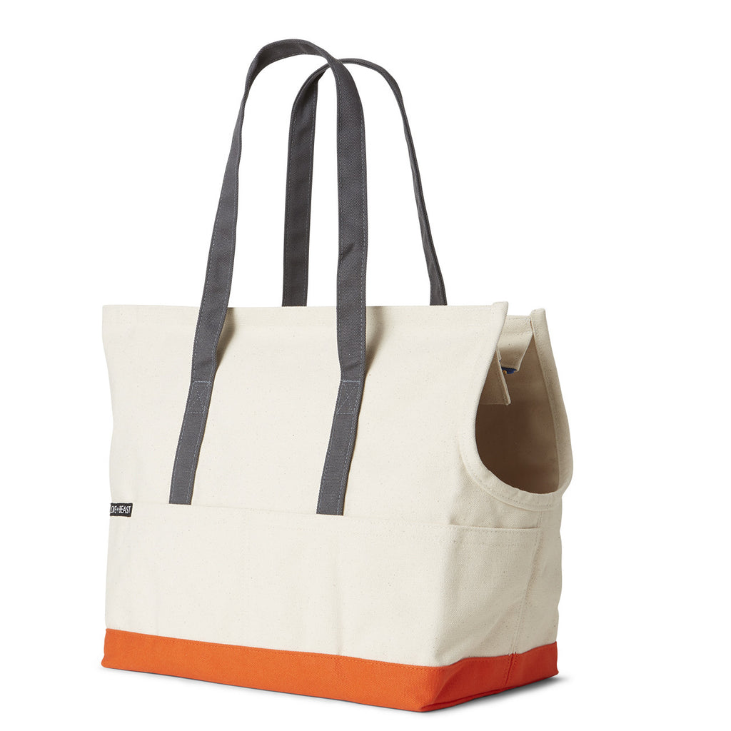 natural and orange canvas pet tote for airline travel