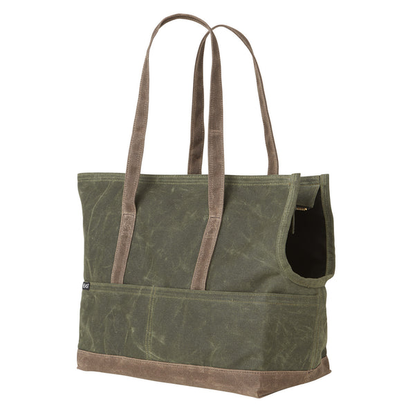 waxed canvas olive and oak pet carrier with leash attachment