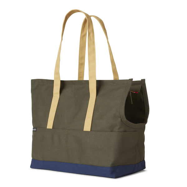 Canvas Pet Tote Olive & Navy