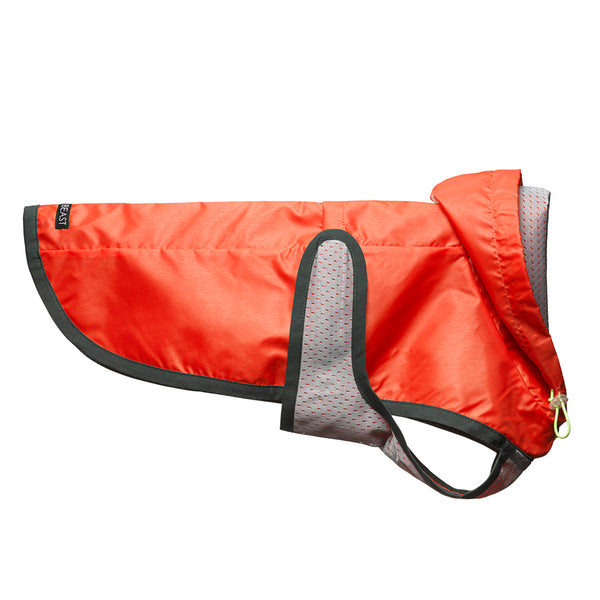 water proof lightweight nylon orange dog rain coat with grey lining and green trim with drawstring hood and harness hole