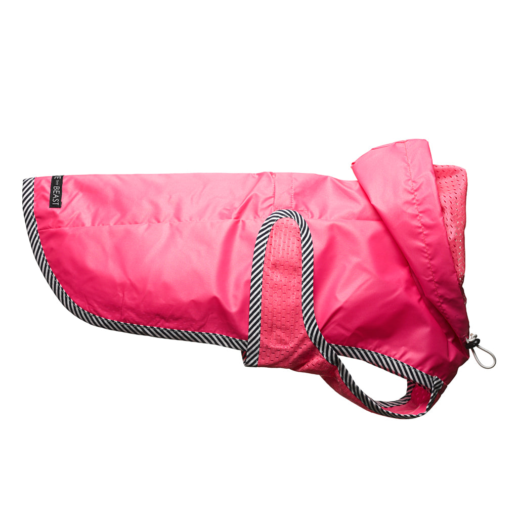 Neon Pink Nylon Rain Jacket with Mesh Lining