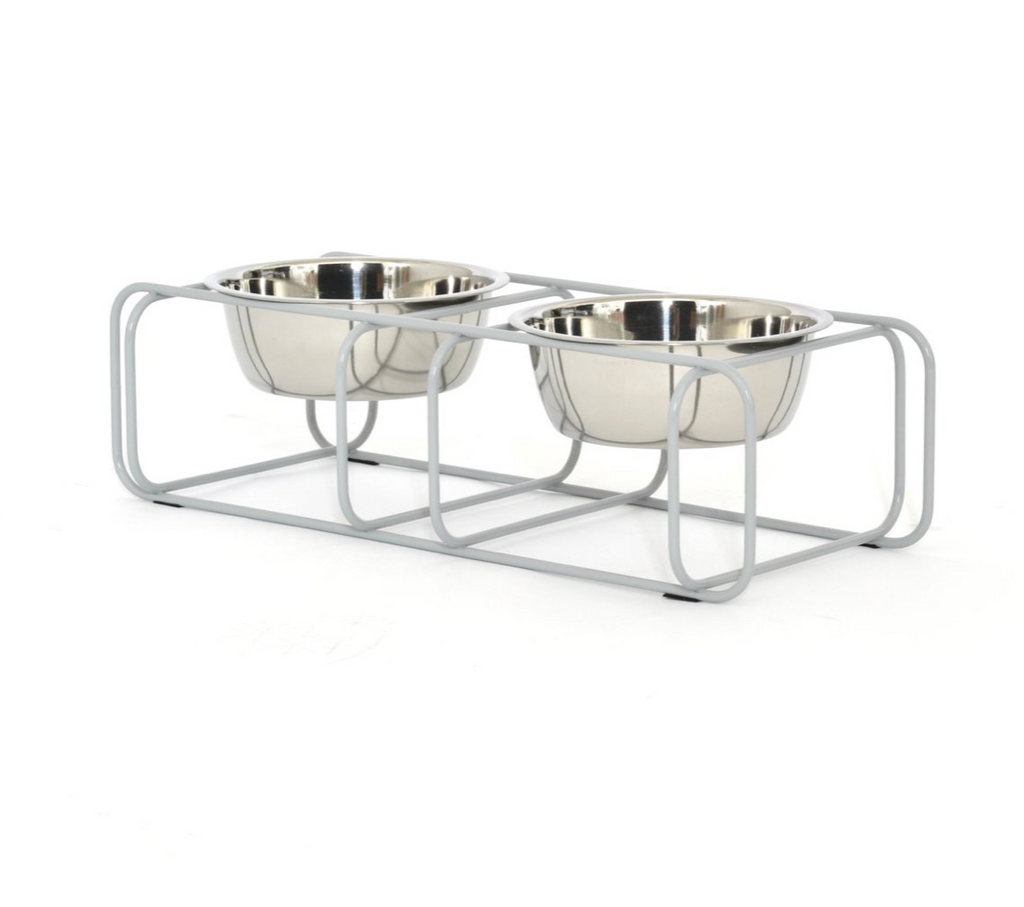 modern made in usa grey designer pet elevated food stand with two stainless steel bowls