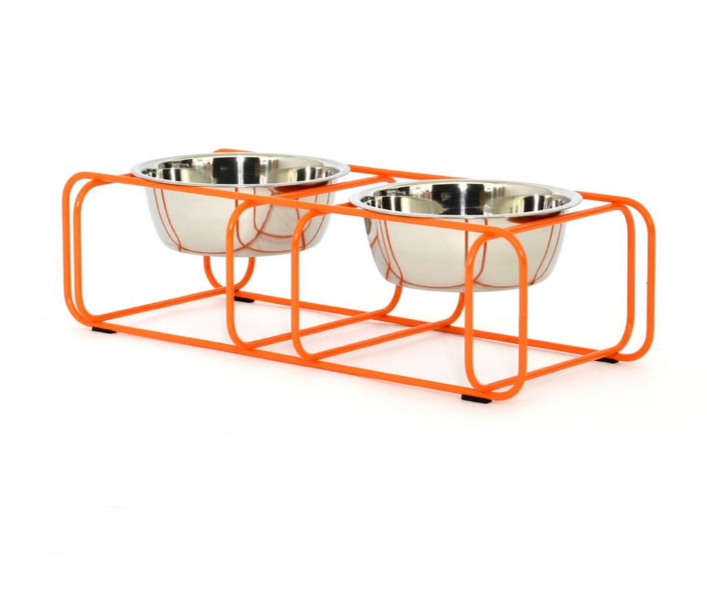 modern made in usa orange designer elevated pet food stand with two stainless steel bowls