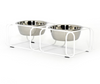modern made in usa white designer elevated pet food stand with two stainless steel bowls