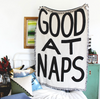 """GOOD AT NAPS"" Throw Blanket"